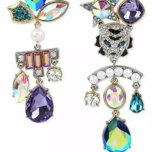 Betsey Johnson two-tone crystal stone earrings